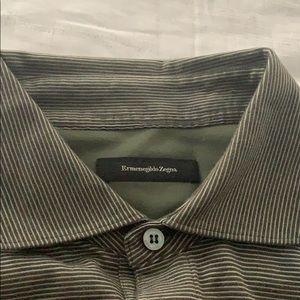 Ermenegildo Zegna dark olive white striped polo XL